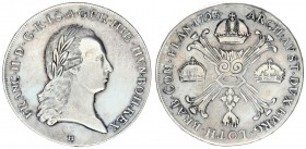 Austrian Netherlands 1 Kronenthaler 1793 H Günzburg. Franz II. (I.) (1792-1835). Av.: Laurel-shaped half-length portrait to the right including the mi...