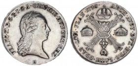 Austrian Netherlands 1 Kronenthaler 1795 H Günzburg. Franz II. (I.) (1792-1835). Av.: Laurel-shaped half-length portrait to the right including the mi...