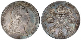 Austria Holy Roman Empire Austrian Netherlands 1 Thaler 1796 M Milan. Francis II./I. (1792-1806) Av: Laureate head right. Rev: Burgundy cross and crow...