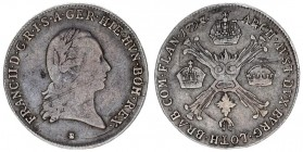 Austrian Netherlands 1/4 Kronenthaler 1797 B Kremnitz. Franz II. (I.) (1792-1835). Av.: Laurel-shaped half-length portrait to the right including the ...