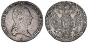 Austria Holy Roman Empire 1 Thaler 1815 Vienna. Franz I. (1804-1835). Av.: Laureate head right. Rv.: Crowned imperial double eagle facing with wings s...