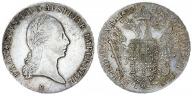 Austria Holy Roman Empire 1 Thaler 1822 B Kremnitz. Francis II / I (1792/1806-1835). Averse: Laureate head right. Reverse: Crowned imperial double eag...
