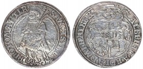 Roman German Empire 1 Thaler 1538 Halberstadt. Albrecht von Brandenburg (1513 - 1545). Av.: Coat of arms under a legate hat with a sword and crook. Rv...
