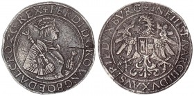 Roman German Empire 1 Thaler (1546) Hall. Ferdinand I (1522-1558-1564). Thaler undated. Av .: Crowned and armored hip image n.r. with scepter. Rv.: Ea...