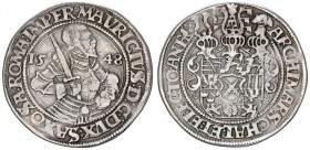 German States SAXONY-ALBERTINE 1 Thaler 1548 (h) Moritz (1541-1553). Obverse: Armored 1/2-length figure right holding sword over right shoulder divide...
