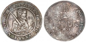 German States SAXONY-ALBERTINE 1 Thaler 1561 HB. August I (1553-1586). Obverse: Bust right with sword over right shoulder divides date 2 small shields...