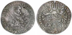 German States SAXONY-ALBERTINE 1 Thaler 1574 HB. August I (1553-1586). Obverse: Bust right with sword over right shoulder divides date 2 small shields...