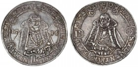 German States SAXE-OLD-WEIMAR 1 Thaler 1584 ( c ) Friedrich Wilhelm and Johann (1573-1603). Obverse: Facing 1/2-length bust of bearded duke divides da...