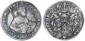 German States SAXONY-ALBERTINE 1 Thaler 1587 HB Christian I. (1586-1591). Obverse: 1/2-length armored figure to right sword over right shoulder head d...