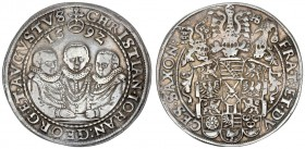 German States SAXONY-ALBERTINE 1 Thaler 1592 HB. Dresden. Christian II. Johann Georg I. and August. Three hip pictures the middle one higher / coat of...