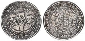 German States Saxony 1/2 Thaler 1592 HB. Christian II Johann Georg & August(1591-1611). Av.: Facing busts of three brothers. Rv.: Ducal coat-of-arms i...