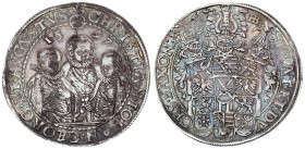 German States SAXONY-ALBERTINE 1 Thaler 1597 HB. Dresden. Christian II. Johann Georg I. and August. Three hip pictures the middle one higher / coat of...
