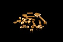 Lot of 27 Hellenistic Jewelry Elements, c. 3rd-1st century BC (3-18mm, 8.74g). Different shapes, fragmentary and twisted.
