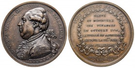 Médaille en bronze, Jacques Necker Ministre des Finances, 1789, Paris Bronze 29,99 g. 41.4mm. par Duvivier  Avers : JACQUES NECKER GENEVOIS NÉ EN OCTO...