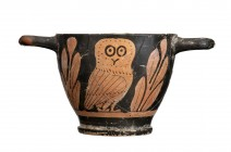Apulian Red-Figure Owl Skyphos, 4th century BC; height cm 8, diam cm 10; Restored. Provenance: English private collection formed between 1970s and lat...