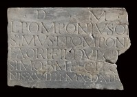 Roman Marble Funerary Inscription Slab of the Gens Pomponia, 1st - 2nd century AD; height cm 22; length cm 34; wide cm 2,5.Provenance: English private...
