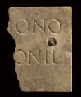 Roman Marble Inscription Slab, 1st - 2nd century AD; height cm 10,4; length cm 7,5; Presence of an oxidized iron nail. Provenance: English private col...