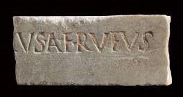 Roman Marble Inscription Slab, 1st-2nd century AD; height cm 5,5, length cm 12,3. Provenance: English private collection formed between 1970s and late...