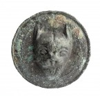 Roman Bronze Stud with Panther Head, 1st - 3rd century AD; diam cm 3,2. Provenance: European private collection.