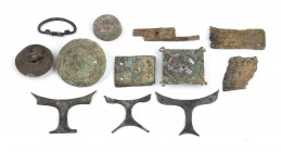 Collection of Twelve Roman Bronze Appliques and Various Objects, 1st - 4th century AD; length cm 2,5 to cm 6,5. Provenance: English private collection...