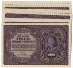 II Republic of Poland, Lot of 11 pcs next numbers 1000 polish marks 1919