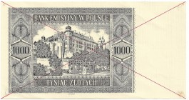 III Reich occupation of Poland, GG, 1000 zloty 1941 - copy 2004 unfinished/specimen(?)