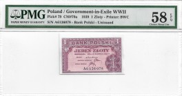 Poland, Goverment in exile, 1 zloty 1939 - PMG 58 EPQ