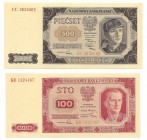 Peoples Republic of Poland, Lot 100 zloty and 500 zloty 1948