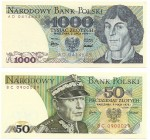 Peoples Republic of Poland, 50 zloty 1975 and 1000 zloty 1975