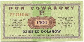 Peoples Republic of Poland, Pewex 10 dollars 1969 FF