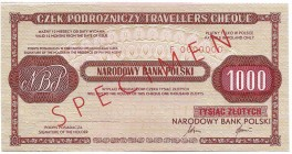 Peoples Republic of Poland, Travellers cheque 1000 zloty Specimen very rare