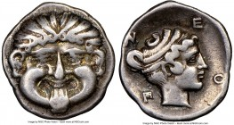 MACEDON. Neapolis. Ca. 425-350 BC. AR hemidrachm or triobol (14mm, 12h). NGC VF. Head of gorgon facing with tongue protruding / N-E/O-Π, head of nymph...