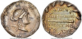 MACEDON UNDER ROME. First Meris. Ca. 167-148 BC. AR tetradrachm (31mm, 12h). NGC XF, edge bend. Diademed, draped bust of Artemis right, bow and quiver...