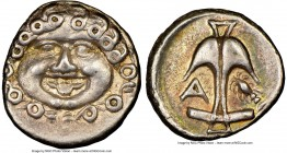 THRACE. Apollonia Pontica. Ca. late 5th-4th centuries BC. AR drachm (14mm, 9h). NGC Choice XF. Facing Gorgoneion, hair of coiled serpents, with protru...