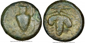 CORCYRA. Corcyra. Ca. 4th century BC. AE (15mm, 3h). NGC Fine. Ca. 400-338. Amphora; K in left field / Three lobes of grapes on vine; Σ-Ω across field...