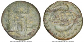 MEGARIS. Megara. Ca. 350-275 BC. AE (15mm, 12h). NGC VF. Prow left surmounted by tripod / MEΓ, two dolphins swimming clockwise around ethnic. BMC Atti...