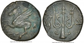 CORINTHIA. Corinth. 4th-3rd centuries BC. AE (13mm, 3h). NGC XF. Ca. 303-287 BC, Do-, magistrate. Pegasus flying left; Ϙ below / Ornamented trident; a...