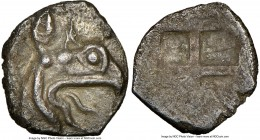IONIA. Phocaea. Ca. late 6th-early 5th centuries BC. AR tetartemorion (7mm). NGC Choice XF. Head of griffin right with open beak / Quadripartite incus...