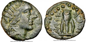CARIA. Halicarnassus. Ca. 150-50 BC. AE (17mm, 11h). NGC Choice VF. Diock-, magistrate. Radiate head of Helios right / AΛIK-ΔIOCK, lyre; large dotted ...