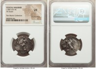 CILICIA. Nagidus. Ca. 400-333 BC. AR stater (25mm, 10h). NGC VF, light smoothing. Aphrodite enthroned left, wearing polos, chiton and peplos, patera i...