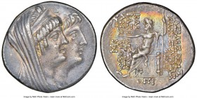 SELEUCID KINGDOM. Cleopatra Thea and Antiochus VIII (125-121 BC). AR tetradrachm (29mm, 16.66 gm, 12h). NGC XF 5/5 - 4/5. Ake-Ptolemais, Dated Civic Y...
