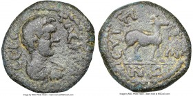 CARIA. Euippe. Geta (AD 209-211). AE (18mm, 12h). NGC VF. Λ CЄΠ ΓЄ-TAC K, bare headed, draped and cuirassed bust of Geta right, seen from behind / ЄVI...