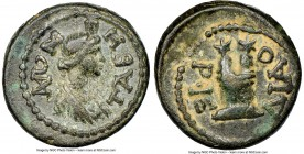 CARIA. Tabae. Autonomous issues, time of Domitian (AD 81-96). AE (16mm, 11h). NGC Choice VF S. Orthrios Hieron, magistrate. TABH-NΩN, turreted, draped...