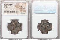 LYDIA. Tripolis. Trajan (AD 98-117). AE (26mm, 1h). NGC XF, Fine Style. ΔHMOC TPIΠO-ΛEITΩN, bare head of Demos right / AV KAI TPAI-A-NOC ΔAKIKOC, Traj...