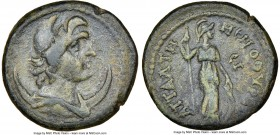 PHRYGIA. Temenothyrae Flaviopolis. Ca. 2nd-3rd centuries AD. AE (20mm, 6h) NGC VF S. Attal-, magistrate. Draped bust of Mên right, wearing Phrygian ca...