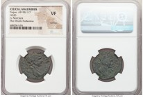 CILICIA. Anazarbus. Trajan (AD 98-117). AE (25mm, 1h). NGC VF, damage. Dated Year 132 (AD 113/4). ΑΥΤΟ ΚΑΙ ΝΕΡ ΤΡΑΙΑ-ΝΟC CΕ ΓΕΡ ΔΑ, laureate head of T...