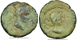 ASIA MINOR. Uncertain mint. Tiberius and Livia(?) (AD 14-37). AE (14mm, 10h). NGC Fine. CЄBACTOC, bare male head right / CЄB-ACTH, draped female bust ...
