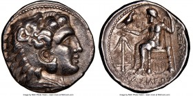 MACEDONIAN KINGDOM. Alexander III the Great (336-323 BC). AR tetradrachm (26mm, 2h). NGC XF. Posthumous issue under Seleucus I, uncertain mint 6A in B...