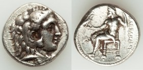 MACEDONIAN KINGDOM. Alexander III the Great (336-323 BC). AR tetradrachm (26mm, 16.96 gm, 1h). VF. Late lifetime-early posthumous issue of Aradus, ca....