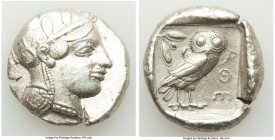ATTICA. Athens. Ca. 455-440 BC. AR tetradrachm (26mm, 17.10 gm, 2h). XF. Early transitional issue. Head of Athena right, wearing crested Attic helmet ...